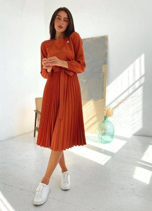 Платье миди полусолнце карамельное
