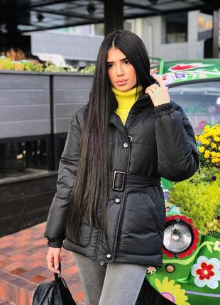 Куртка с поясом черная