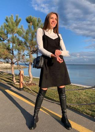 Сарафан, платье замшевое черное