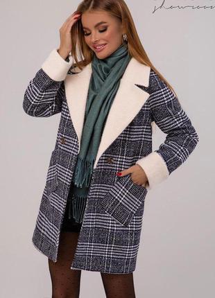 Пальто шерстяное клетчатое серое