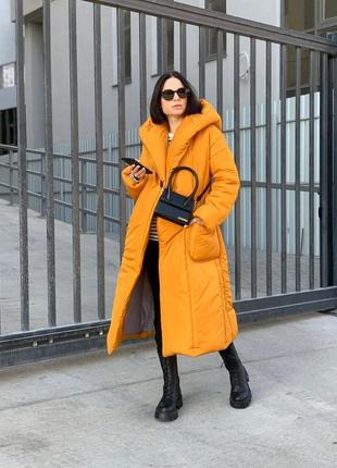 Пальто зимнее горчица