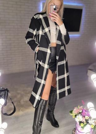 Пальто кашемировое клетчатое чёрное