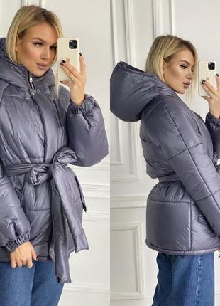 Куртка с поясом серая