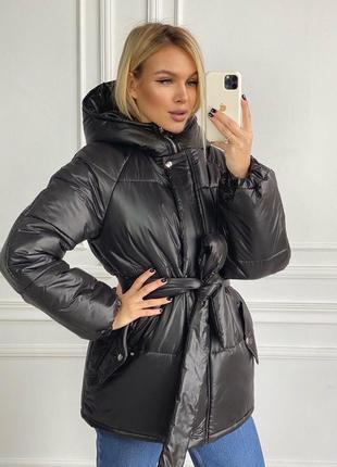Куртка с поясом чёрная