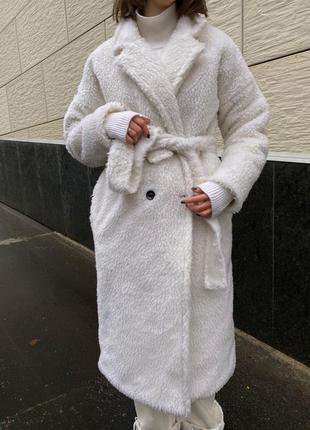 Пальто шуба белая