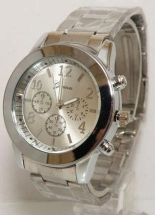 Стильные женские часы Geneva Женева Silver Gold