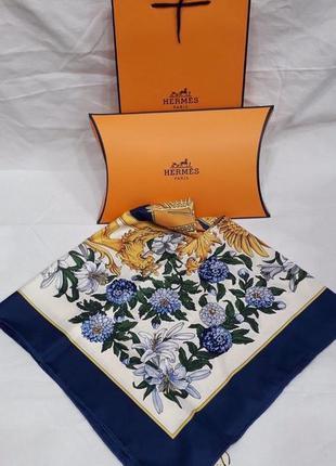 Палантин платок брендовый синий