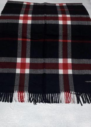 Палантин платок кашемировый клетчатый чёрный