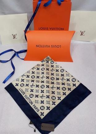 Палантин платок шёлковый брендовый синий