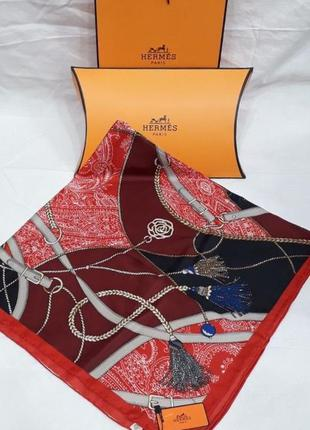 Палантин платок шёлковый брендовый красный