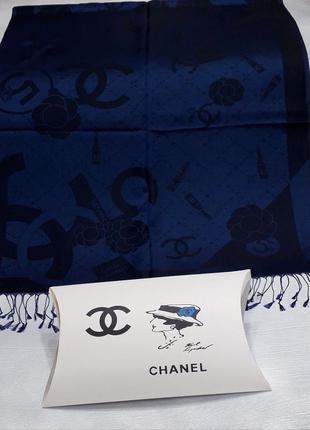 Палантин платок кашемировый брендовый синий