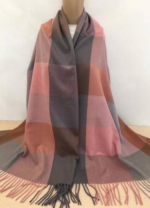 Палантин платок кашемировый клетчатый серый