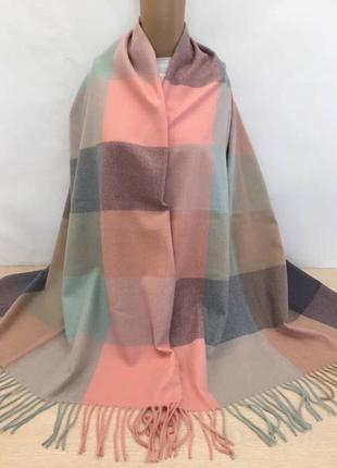 Палантин платок кашемировый клетчатый пудра