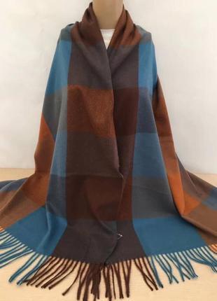 Палантин платок кашемировый клетчатый коричневый