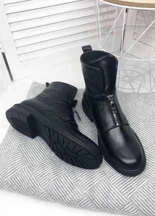 Натуральная кожа осенние кожаные ботинки на молнии спереди