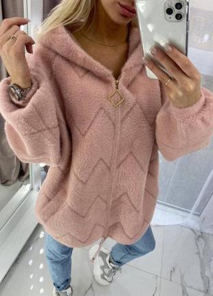 Кофта куртка шерстяная пудра