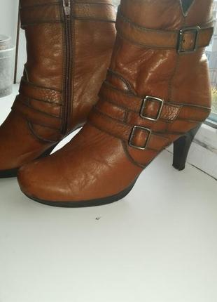 Кожаные ботинки, демисезонные рыжие ботинки, кожа, размер 38