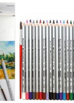Акварельные карандаши Marco 7120 на 24 цвета с кистью
