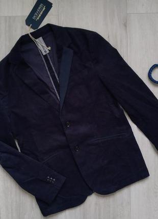 Мужской вельветовый пиджак slim fit длинный рукав jack & jones