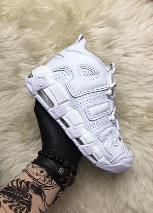 Кроссовки nike air more uptempo white on white (осень)