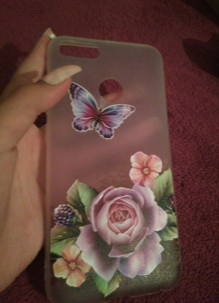 Чехол на iPhone розовый с цветами