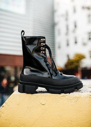 💖женские осенние ботинки бот💖, чёрные кожаные демисезонные, вы...