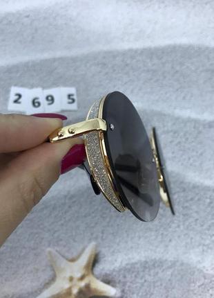 Модные черные очки в золотой оправе  к.2695
