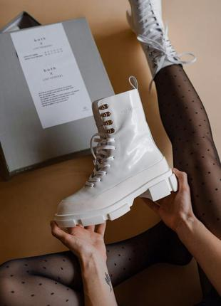 🌺both white🌺женские мега стильные кожанные белые ботинки\сапог...