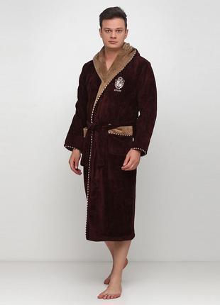 Халат rukim однотонный коричневый домашний хлопок