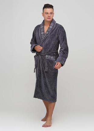 Халат rukim орнамент тёмно-серый домашний хлопок, махра