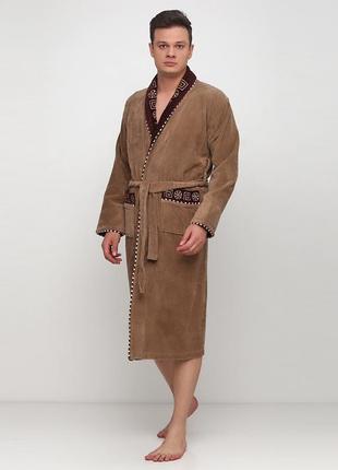 Халат rukim однотонный светло-коричневый домашний хлопок