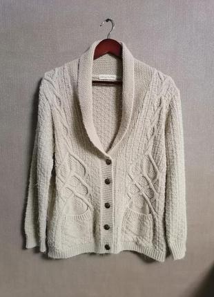 Тёплый вязаный свитер, вязаный кардиган оверсайз с косами