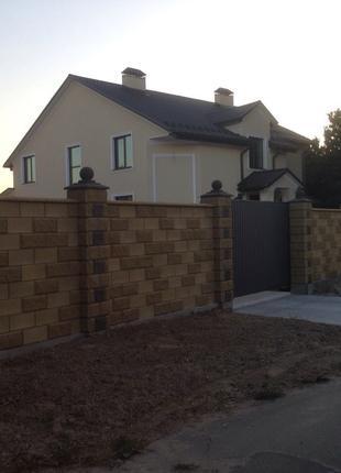 Блок Декоративный Заборный под Рваный камень с Фаской