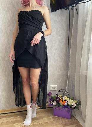 Платье короткое с юбкой шифон чёрное выпускное