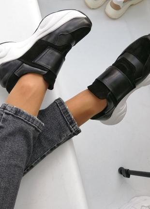 Кожаные чёрные женские кроссовки