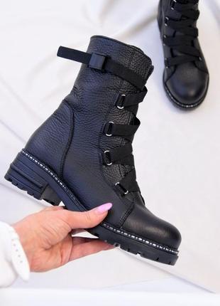 Кожаные стильные женские ботинки