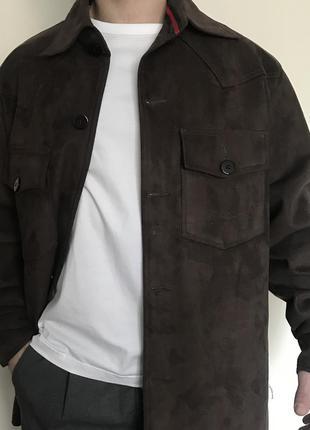 Брендовая рубашка/пальто/ куртка, плотная под замшу