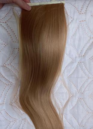 Хвост на ленте, волосы на заколках, накладной хвост
