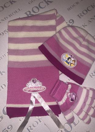 Красивый  детский комплект:шапка,шарф и перчатки