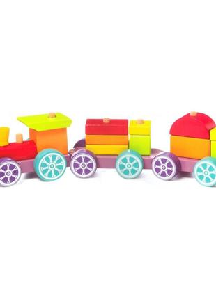 Поезд Cubika деревянный конструктор