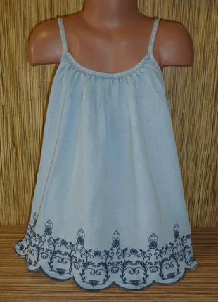 Джинсовая блузка на тонких бретелях на 11-12 лет с вышивкой