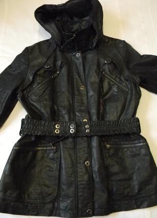 Женская кожаная куртка утепленная с капюшоном yessica р.l