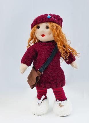Кукла ручной работы в свитере и шапке, Интерьерная кукла