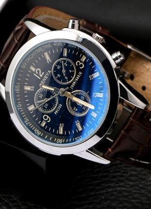 """Мужские классические наручные часы """"Geneva"""" (чёрный циферблат)"""