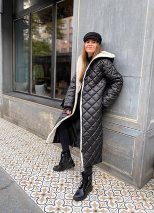 Стеганое пальто. зимняя куртка-пальто.