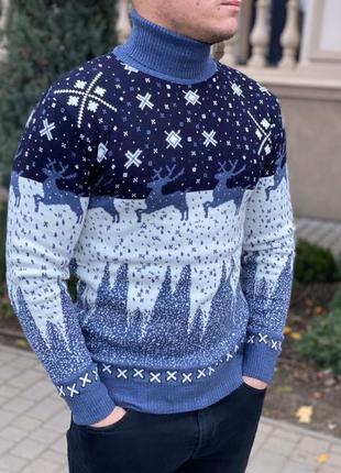 Свитер с оленями. новогодний свитер.