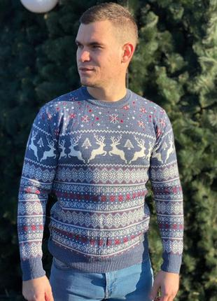 Свитер с оленями. новогодний свитер