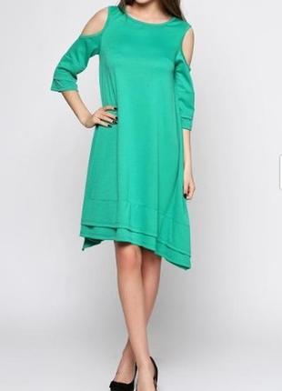 Весеннее платье с открытыми плечами зеленого цвета, свободный ...