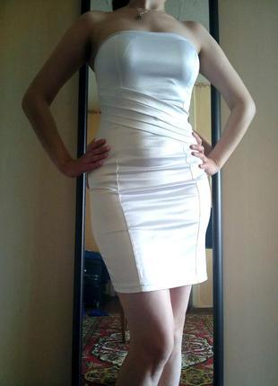 Шикарное белое платье бюстье на выпускной, свадебное, для росписи