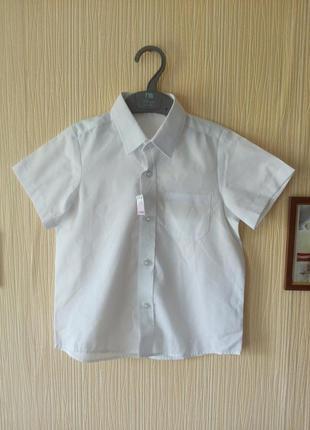 Белая рубашка с коротким рукавом на мальчика 4-5 лет, новая бр...